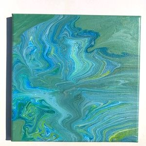 Original painting abstract green blue yellow white